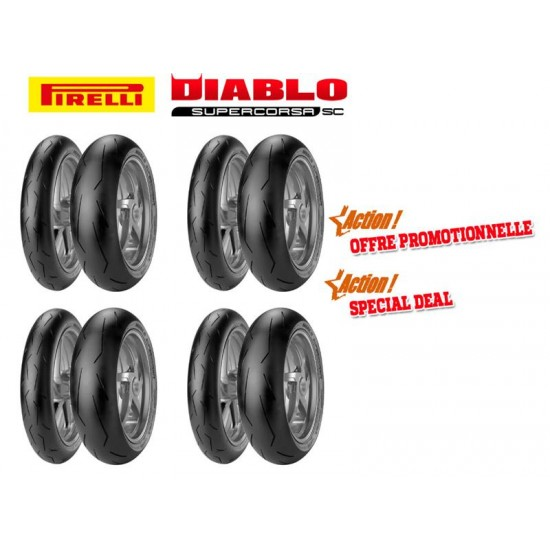 Pack PIRELLI Racing - 4 trains de pneus Diablo Supercorsa SC V1 (120/70ZR17 + 180/55ZR17 + 190/55ZR17)
