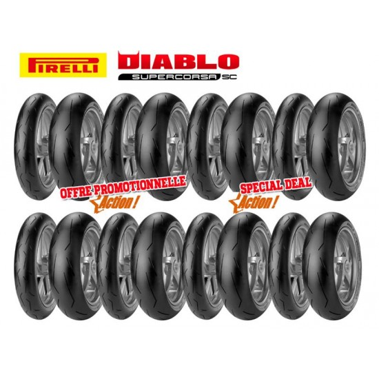 Pack PIRELLI Racing - 8 trains de pneus Diablo Supercorsa SC V1 (120/70ZR17 + 180/55ZR17 + 190/55ZR17)