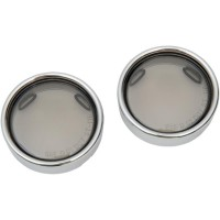 DEUCE-STYLE TURN SIGNAL DEEP-DISH LENS W/ CHROME TRIM RING SMOKE - 12-0226-LM