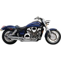 EXHAUST SYSTEM 2 INTO 2 CLASSIC DELUXE STAGGERED DUAL SLASH CUT CHROME - 1563SC