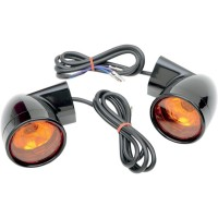 FRONT LED TURN SIGNAL BLACK W/ ORANGE LENS - 12-0224B-2