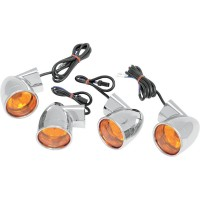 TURN SIGNAL KIT BULLET STYLE AMBER CHROME - 12-0224
