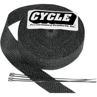 CYCLE PERFORMANCE WRAP KIT EXHAUST 1 X 50' WITH TIE BLACK/STAINLESS - CPP/9044
