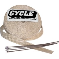 CYCLE PERFORMANCE WRAP KIT EXHAUST 2 X 25' WITH TIE NATURAL/STAINLESS - CPP/9043