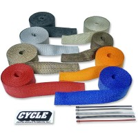 CYCLE PERFORMANCE WRAP KIT EXHAUST 2 X 25' WITH TIE RED/STAINLESS - CPP/9068