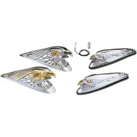 CHROME EAGLE HEAD W/ GOLDEN EYES SMALL FRONT FENDER ORNAMENT - 91-6608-BC312