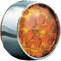 TURN SIGNAL INSERTS ECE COMPLIANT BULLET STYLE AMBER LED AMBER LENS CHROME BEZEL - 5472