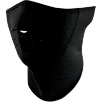 3-PANEL HALF FACE MASK WITH NECK SHIELD ONE SIZE SOLID BLACK - WNFM114H3