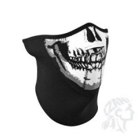 SKULL FACE 3-PANEL HALF FACE MASK WITH NECK SHIELD ONE SIZE - WNFM002H3